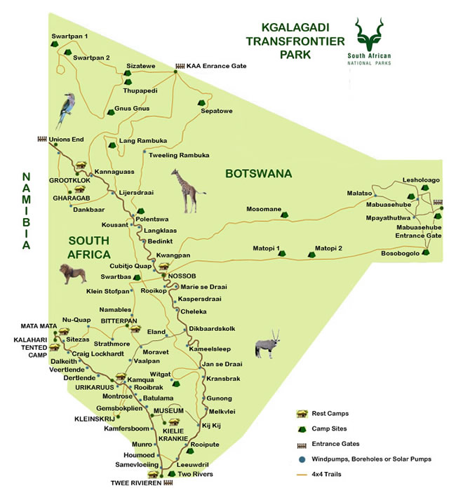 Guided Tour 5 Kgalagadi Map Magic Of The Kalahari Tours
